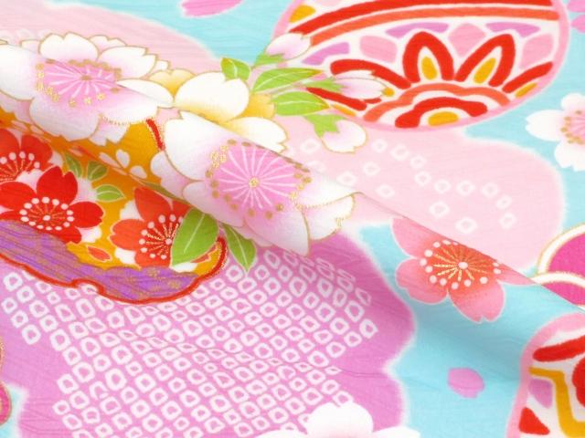 画像3: 卒園式・入学式 七五三に 式部浪漫ブランドのこども袴セット 女の子用 四つ身の着物(合繊)【水色 桜に鞠と雪輪】と刺繍袴「紺」のセット