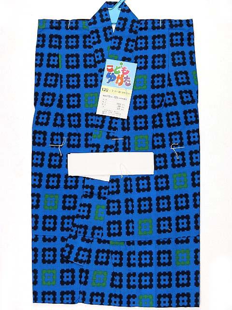 画像2: 子供浴衣 国産 平織の男の子用浴衣 120サイズ【青、井桁】