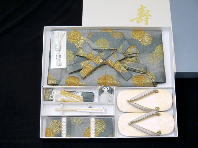 画像5: 七五三 5歳 男の子用 金襴袴【グレー系ぼかし、華様紋】と小物の7点セット