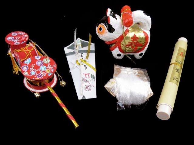 画像2: お宮参りの着物に 国産 フード・涎掛け(正絹)【男の子用】7点セット