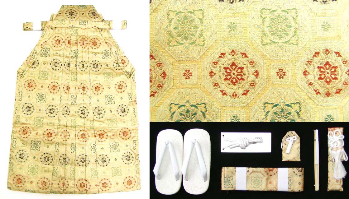 画像1: 七五三 男の子用 金蘭袴【白黄金、紋柄】と小物の7点セット ※箱入り