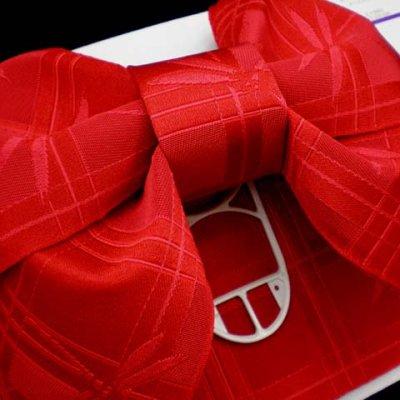 画像3: 子供浴衣帯 女の子用作り帯(結び帯)【赤、トンボ】