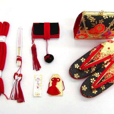 画像2: 七五三 7歳女の子用段織りの結び帯(大寸)と箱セコペアセット【黒金、桜】