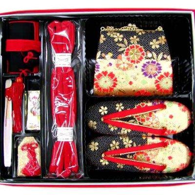 画像4: 七五三 7歳女の子用段織りの結び帯(大寸)と箱セコペアセット【黒金、桜】