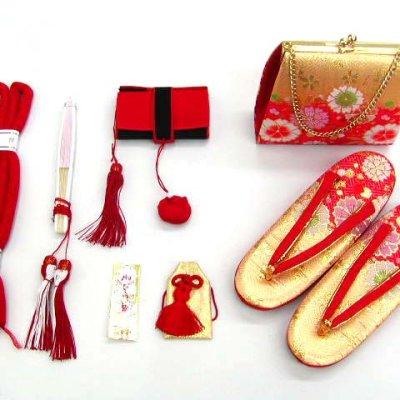 画像2: 七五三 7歳女の子用段織りの結び帯(大寸)と箱セコペアセット【金赤、桜】