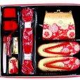 画像4: 七五三 7歳女の子用段織りの結び帯(大寸)と箱セコペアセット【金赤、桜】 (4)