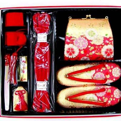 画像4: 七五三 7歳女の子用段織りの結び帯(大寸)と箱セコペアセット【金赤、桜】
