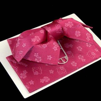 """画像2: 子供浴衣帯 """"ハローキティー""""の女の子用作り帯(結び帯)【濃いピンク】"""