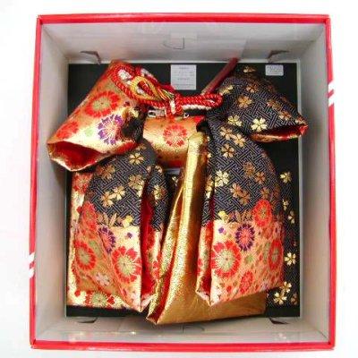 画像3: 七五三 7歳女の子用段織りの結び帯(大寸)と箱セコペアセット【黒金、桜】
