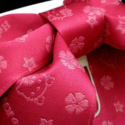 """画像3: 子供浴衣帯 """"ハローキティー""""の女の子用作り帯(結び帯)【濃いピンク】"""