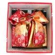 画像3: 七五三 7歳女の子用段織りの結び帯(大寸)と箱セコペアセット【金赤、桜】 (3)