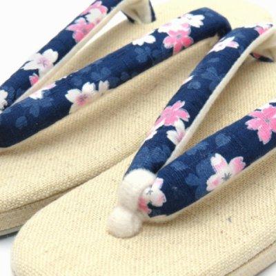 画像2: 夏草履 涼しげな麻混の草履 フリーサイズ レディース草履【紺、桜】