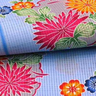 画像5: ≪夏物セール!現品限り≫ 琉球紅型風 特選変り織り浴衣 フリーサイズ 【水色、菊と雪輪】
