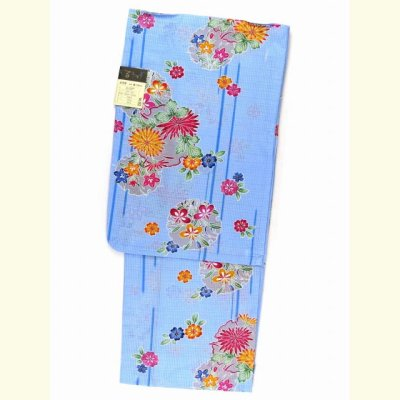 画像3: ≪夏物セール!現品限り≫ 琉球紅型風 特選変り織り浴衣 フリーサイズ 【水色、菊と雪輪】