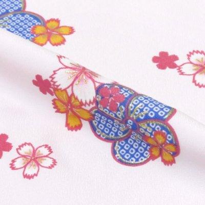 画像4: 七五三 着物 7歳 女の子 四つ身の着物(合繊)【白 桜になでしこ】