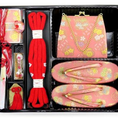 画像3: 七五三 7歳女の子用 金襴 結び帯(大寸)と箱セコペアセット【ピンク】