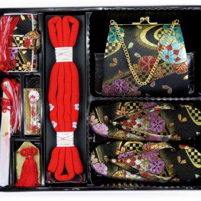 画像3: 七五三 7歳女の子用 金襴 結び帯(大寸)と箱セコペアセット【黒】