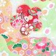 画像3: 七五三 着物 7歳女の子用 フルセット 正絹 日本製 絵羽柄の子供着物 結び帯セット【薄黄緑 梅に鈴】