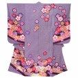 画像2: 七五三 着物 7歳女の子用 フルセット 正絹 日本製 絵羽柄の子供着物 結び帯セット【紫 二つ鞠】