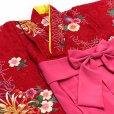 画像3: 赤ちゃんの着物 初節句 お誕生日に 1歳女児用 袴ワンピース【着物:赤、菊と麻 袴:ピンク】