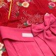 画像4: 赤ちゃんの着物 初節句 お誕生日に 1歳女児用 袴ワンピース【着物:赤、菊と麻 袴:ピンク】
