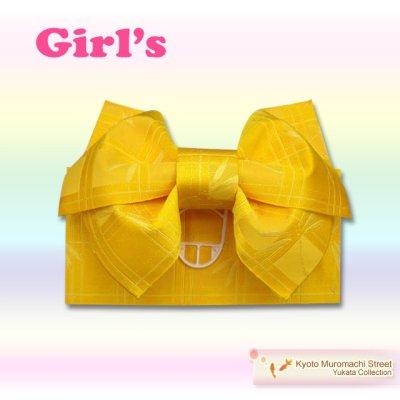 画像2: 子供浴衣帯 女の子用作り帯(結び帯)【黄色、トンボ】