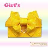 子供浴衣帯 女の子用作り帯(結び帯)【黄色、アゲハ蝶】