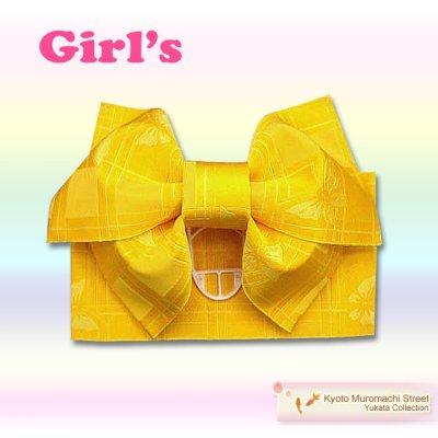 画像1: 子供浴衣帯 女の子用作り帯(結び帯)【黄色、アゲハ蝶】