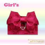 子供浴衣帯 女の子用作り帯(結び帯)【濃いピンク、アゲハ蝶】