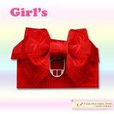 子供浴衣帯 女の子用作り帯(結び帯)【赤、トンボ】