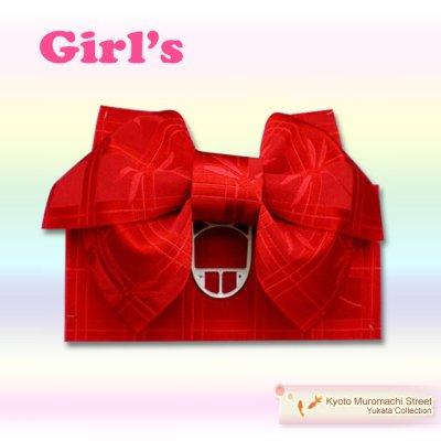 画像1: 子供浴衣帯 女の子用作り帯(結び帯)【赤、トンボ】