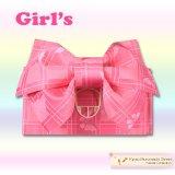 子供浴衣帯 女の子用作り帯(結び帯)【ピンク、アゲハ蝶】