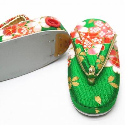 画像3: 子供草履 女の子 金襴生地の草履 18.0cm【緑、桜】