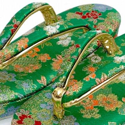 画像2: 子供草履 七五三 3歳 女の子 金襴鼻緒の草履 18cm【緑、桜】