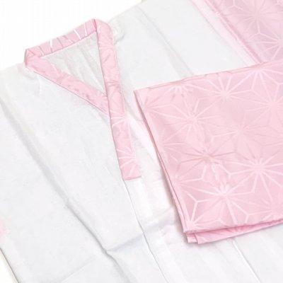 画像3: 日本製 子供着物用 二部式肌着(5歳 数え7歳用 110サイズ位)  お子様肌着セット【ピンク、麻の葉】