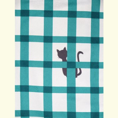 画像3: ネコ柄の洗える着物 袷 小紋 Lサイズ お仕立て上がり【グレー系×青緑 猫に格子 】