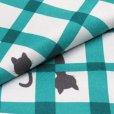 画像4: ネコ柄の洗える着物 袷 小紋 Lサイズ お仕立て上がり【グレー系×青緑 猫に格子 】 (4)