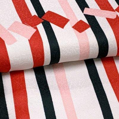 画像3: 洗える着物 小紋 袷 トールサイズ 背の高い人向け着物【赤&生成り、よろけ縞に角】