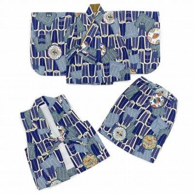 画像5: お正月や初節句に 男の子 赤ちゃん用 ベビー羽織と着物セット【紺地、矢羽】