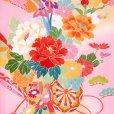 画像3: 産着 お宮参りの着物 日本製 日本製 女の子のお祝い着(初着) 正絹【ピンク 花車に束ね熨斗】