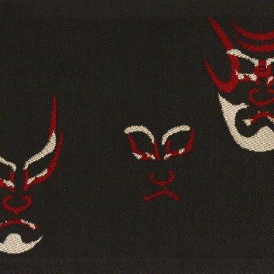 画像5: 半幅帯 正絹 リバーシブル 長尺 おりびと ブランド 和柄の半幅帯【黒地 歌舞伎】