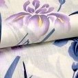 画像4: ジュニア浴衣  レトロ 古典柄 女の子 140cm 大人っぽい粋な柄のこども浴衣【生成り、菖蒲】 (4)