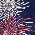 画像3: ジュニア浴衣  レトロ 古典柄 女の子 150cm 大人っぽい粋な柄のこども浴衣【紺地、花火】 (3)