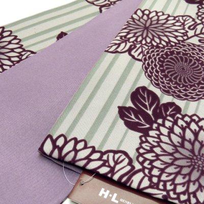 画像2: 半幅帯 H・L(アッシュ・エル)ブランド 長尺 420cm リバーシブル 半巾帯 合繊【紫系、菊】
