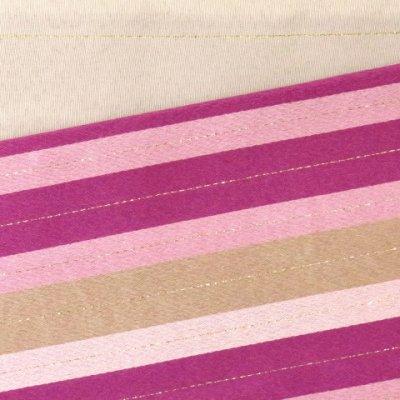 画像3: <在庫処分セール!>半幅帯 H・L(アッシュ・エル)ブランド 長尺 420cm リバーシブル 半巾帯 合繊【ピンクパープル系、横縞】