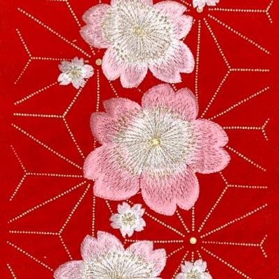 画像3: 華やかで可愛らしい刺繍入りの半衿 半襟 成人式 十三詣りの振袖に 合繊【赤、桜と麻の葉】