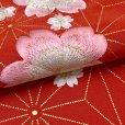 画像4: 華やかで可愛らしい刺繍入りの半衿 半襟 成人式 十三詣りの振袖に 合繊【赤、桜と麻の葉】 (4)