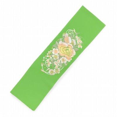 画像2: 振袖用 半衿  華やかなパール刺繍入りの半襟 合繊 日本製 変わり色【黄緑、バラと菊】