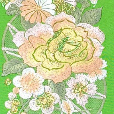 画像3: 振袖用 半衿  華やかなパール刺繍入りの半襟 合繊 日本製 変わり色【黄緑、バラと菊】