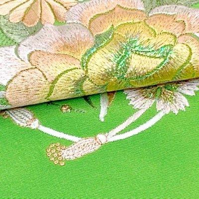 画像4: 振袖用 半衿  華やかなパール刺繍入りの半襟 合繊 日本製 変わり色【黄緑、バラと菊】